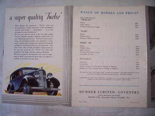 HUMBER TWELVE 1933 SALES BROCHURE For Sale (picture 3 of 4)