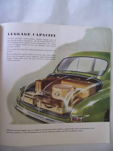 HUMBER HAWK 1952 SALES BROCHURE For Sale (picture 6 of 6)
