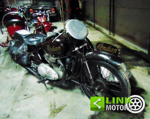 Indian Scout 440,Sidecar cross, anno 1950, perfettamente co For Sale (picture 1 of 6)