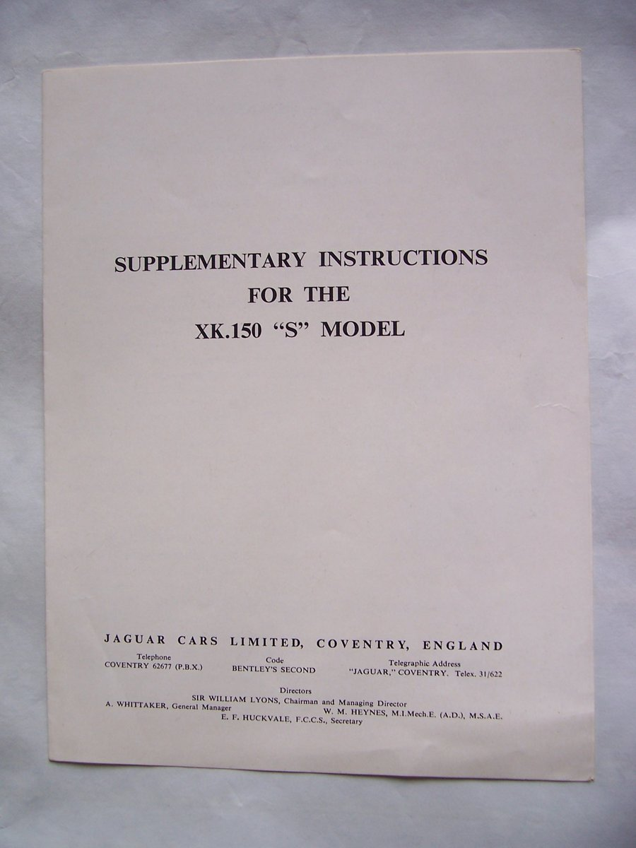 1958 SUPPLEMENTARY INSTRUCTIONS FOR THE XK.150  For Sale (picture 1 of 4)