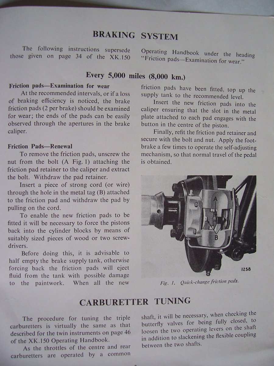 1958 SUPPLEMENTARY INSTRUCTIONS FOR THE XK.150  For Sale (picture 3 of 4)