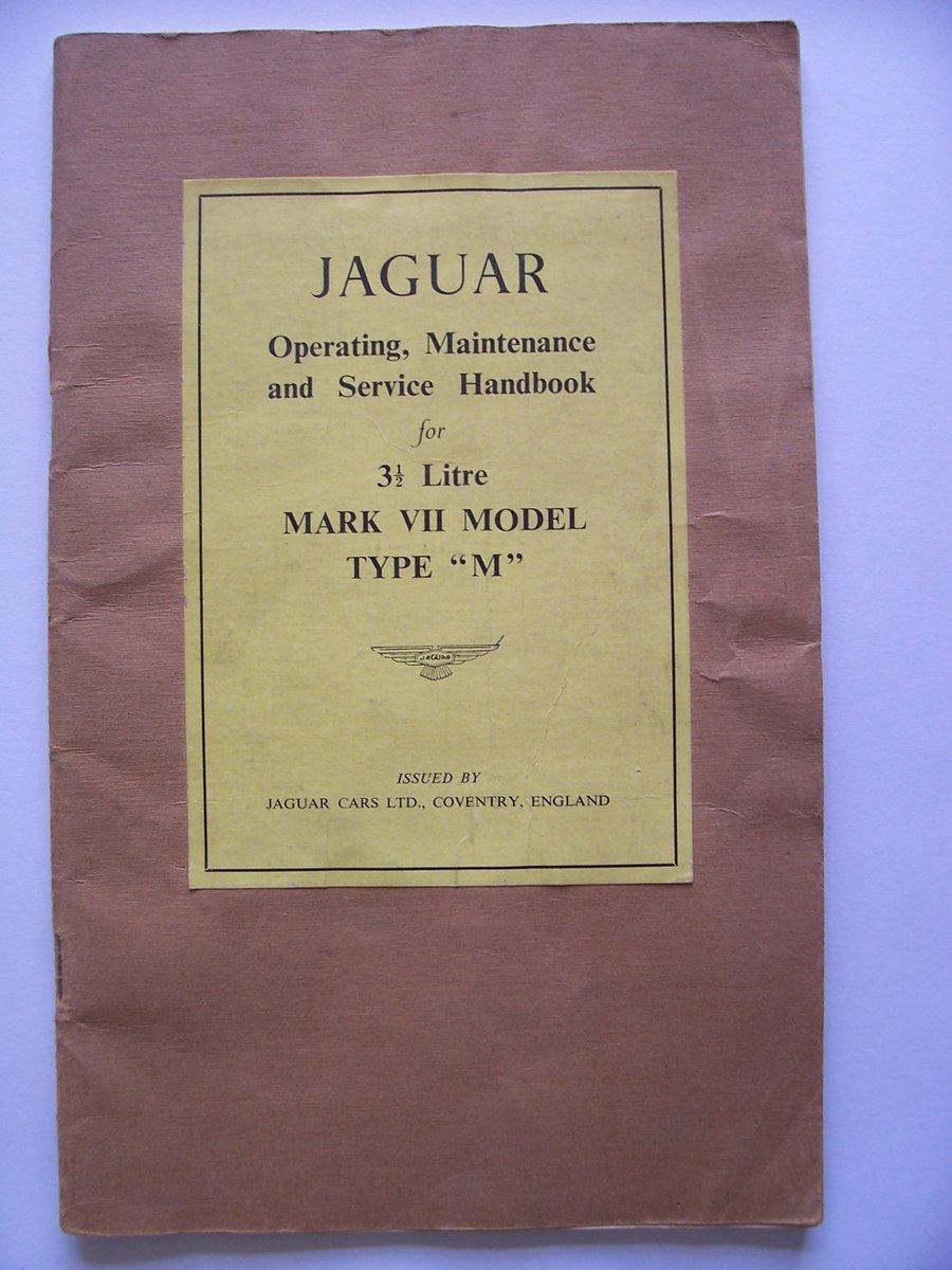 1954 JAGUAR Mk V11 OPERATING, SERVICE HANDBOOK For Sale (picture 1 of 6)