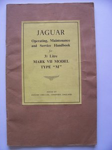 1954 JAGUAR Mk V11 OPERATING, SERVICE HANDBOOK For Sale