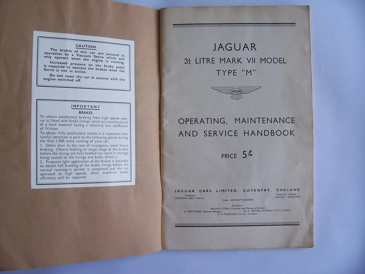 1954 JAGUAR Mk V11 OPERATING, SERVICE HANDBOOK For Sale (picture 2 of 6)