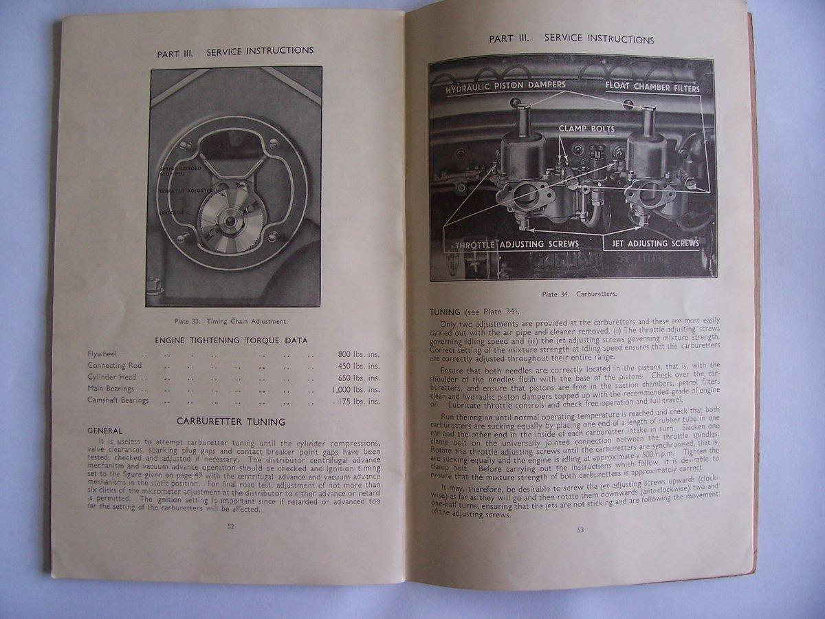 1954 JAGUAR Mk V11 OPERATING, SERVICE HANDBOOK For Sale (picture 4 of 6)