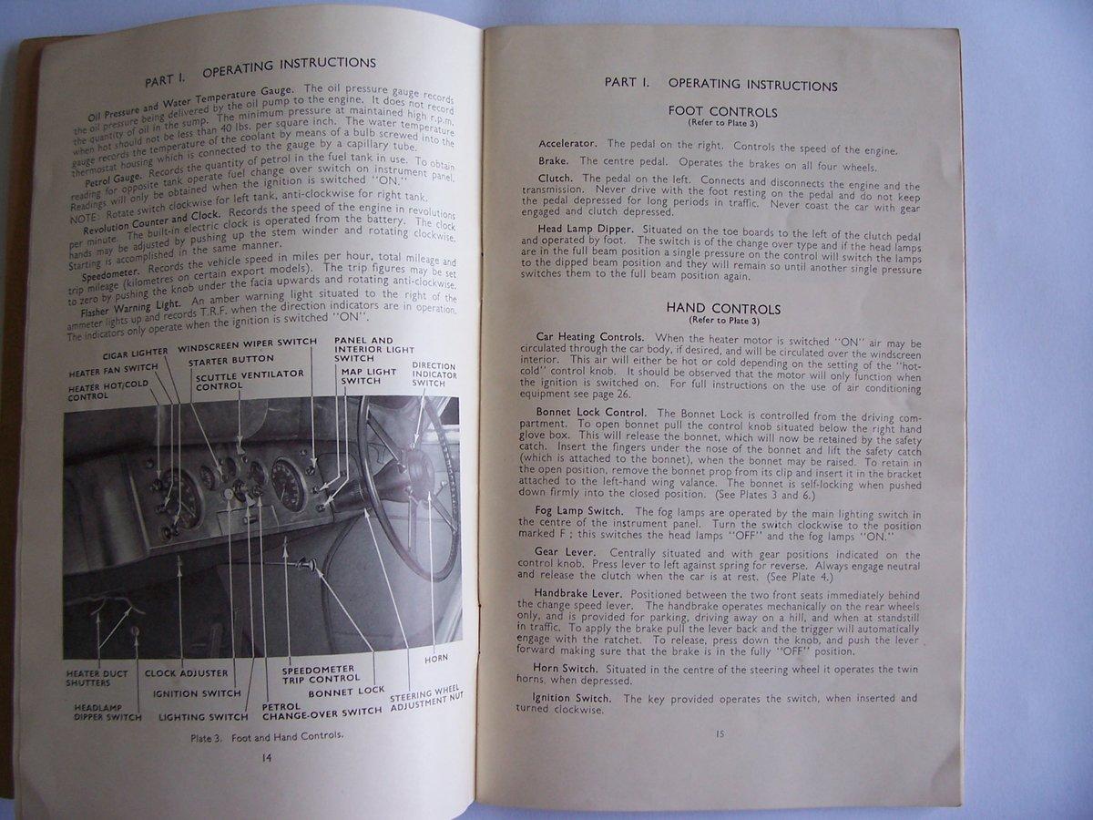 1954 JAGUAR Mk V11 OPERATING, SERVICE HANDBOOK For Sale (picture 5 of 6)