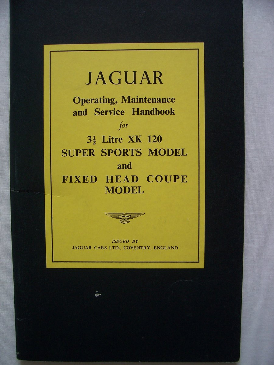 1948 JAGUAR XK 120 OPERATING, MAINTENANCE, and SERVICE HANDBOOK For Sale (picture 1 of 6)