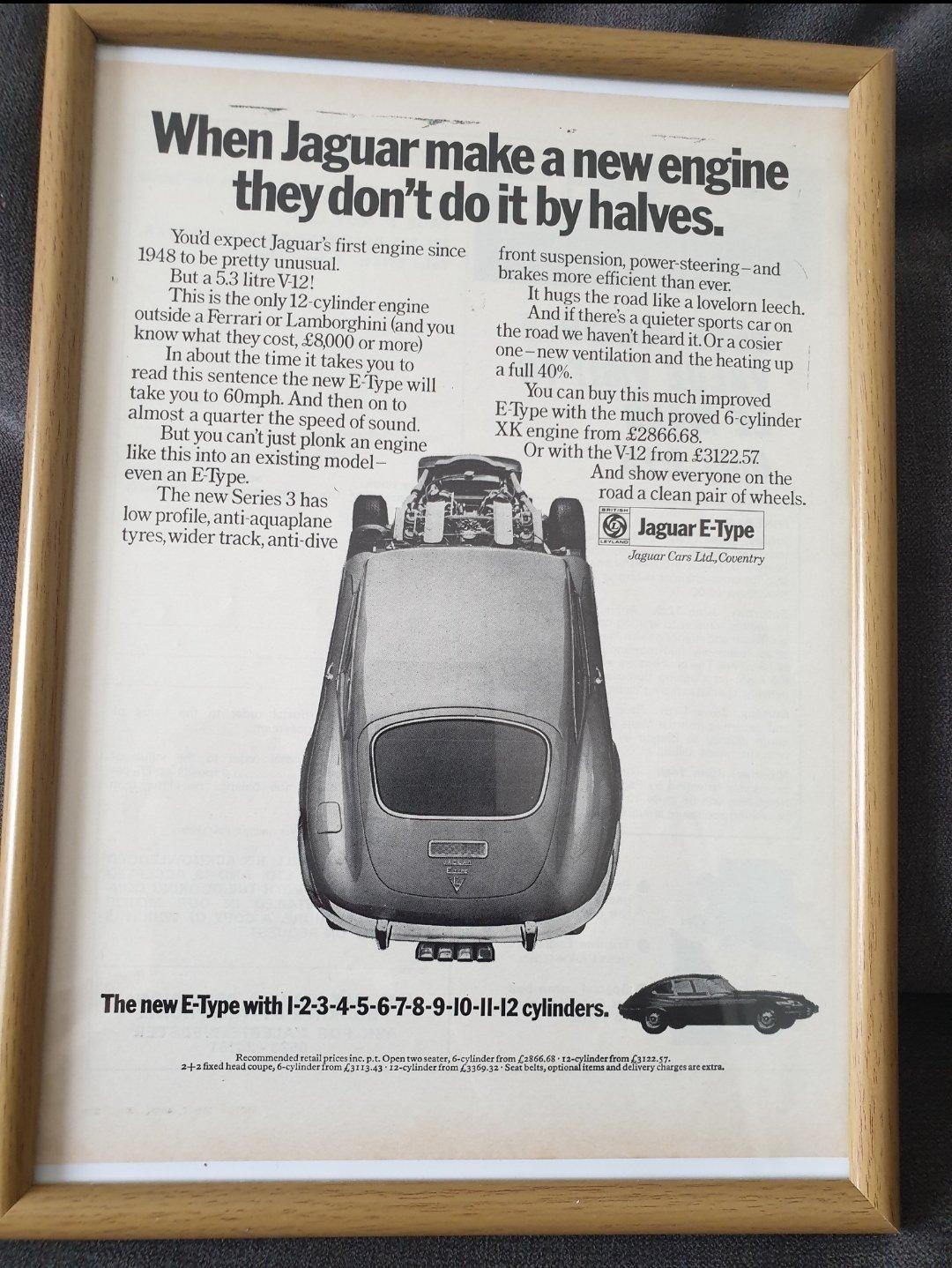 1971 Jaguar E-type advert Original  For Sale (picture 1 of 2)