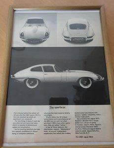1963 E-Type Jaguar Framed Advert For Sale