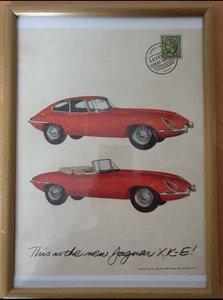 1961 E-Type Jaguar Framed Advert Original