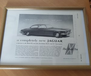 Jaguar MK10 Framed Advert Original