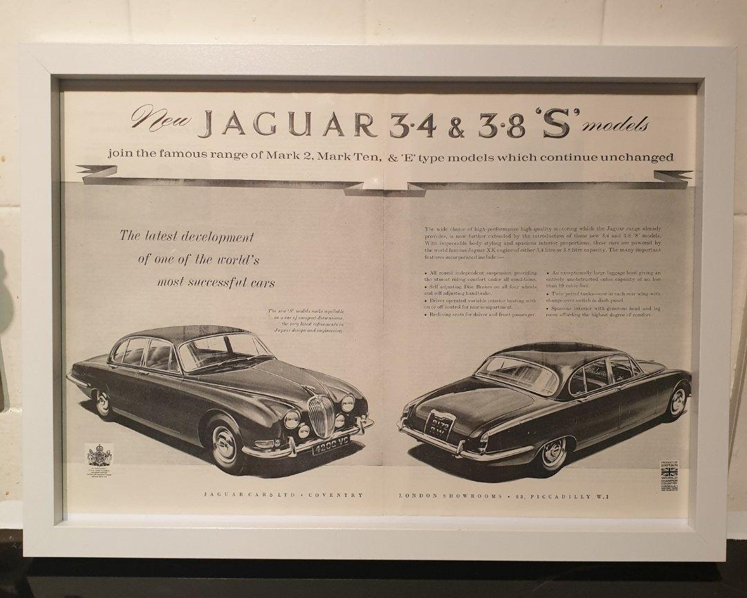 1963 Jaguar S Type Framed Advert Original  For Sale (picture 1 of 2)