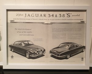 1963 Jaguar S Type Framed Advert Original