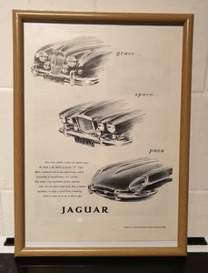 1962 Jaguar Framed Advert Original