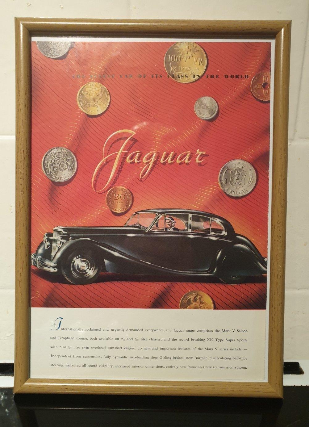 1949 Jaguar MK V Framed Advert Original  For Sale (picture 1 of 2)