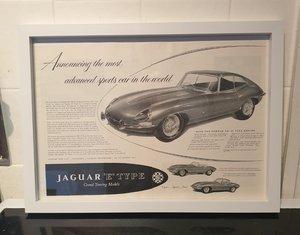 1961 Jaguar E-Type Framed Advert Original  For Sale