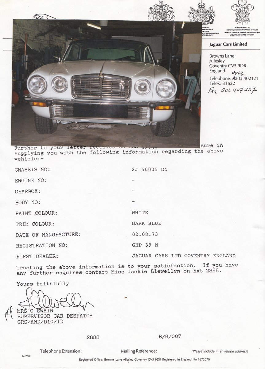 1973 XJC  pre production LHD M.O.D sale agreed For Sale (picture 1 of 1)
