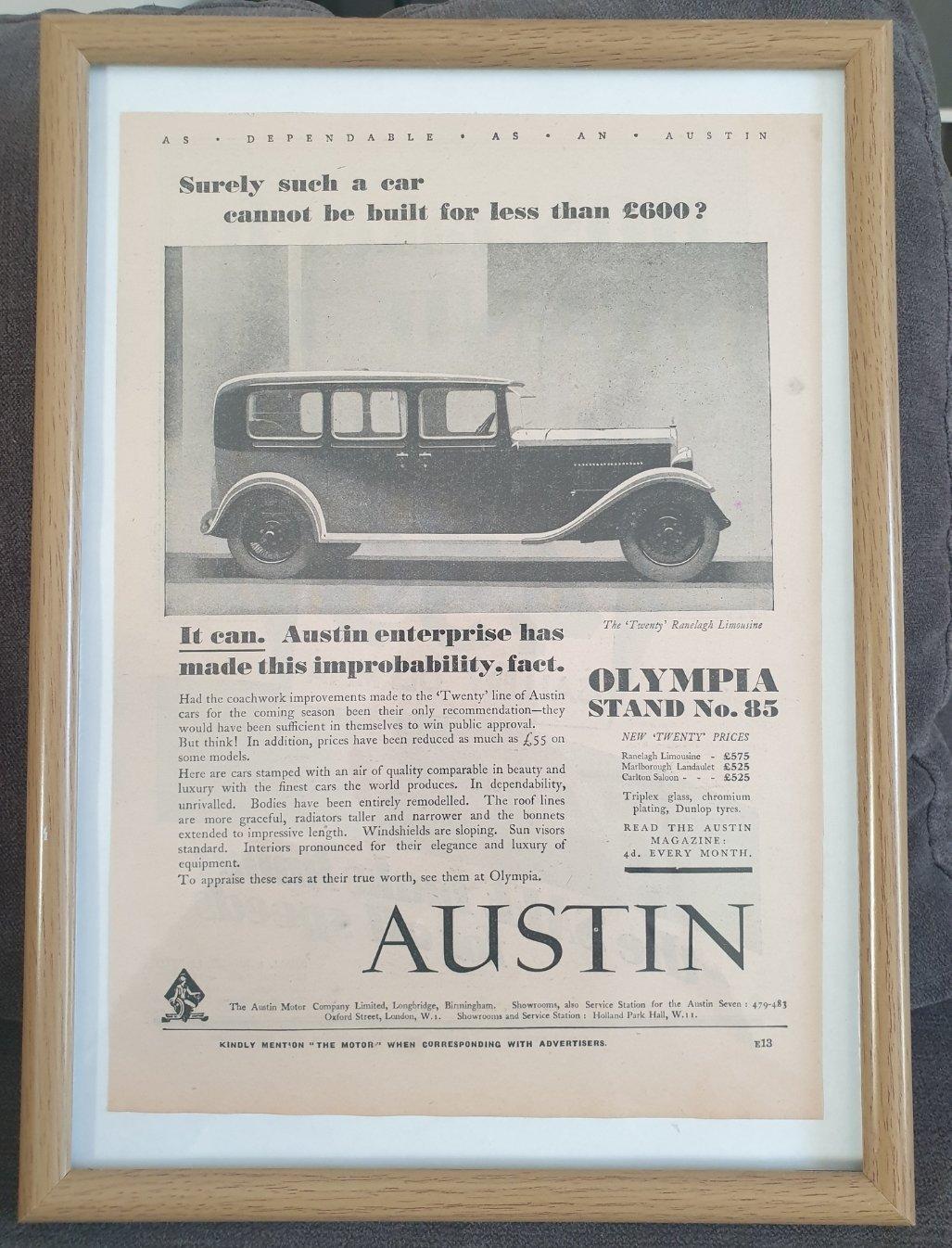 Original 1930 Austin Twenty Framed Advert