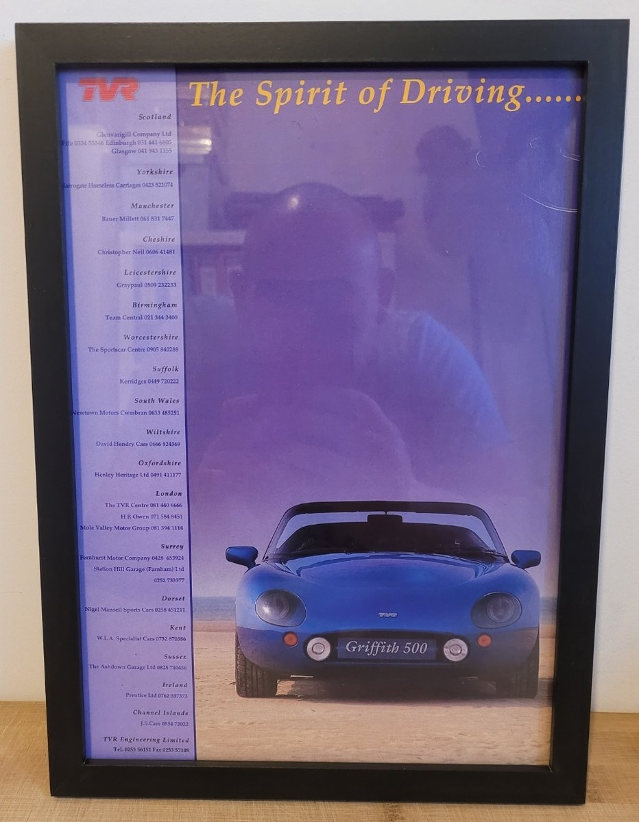 1963 Original 1993 TVR Griffith Framed Advert For Sale (picture 1 of 3)