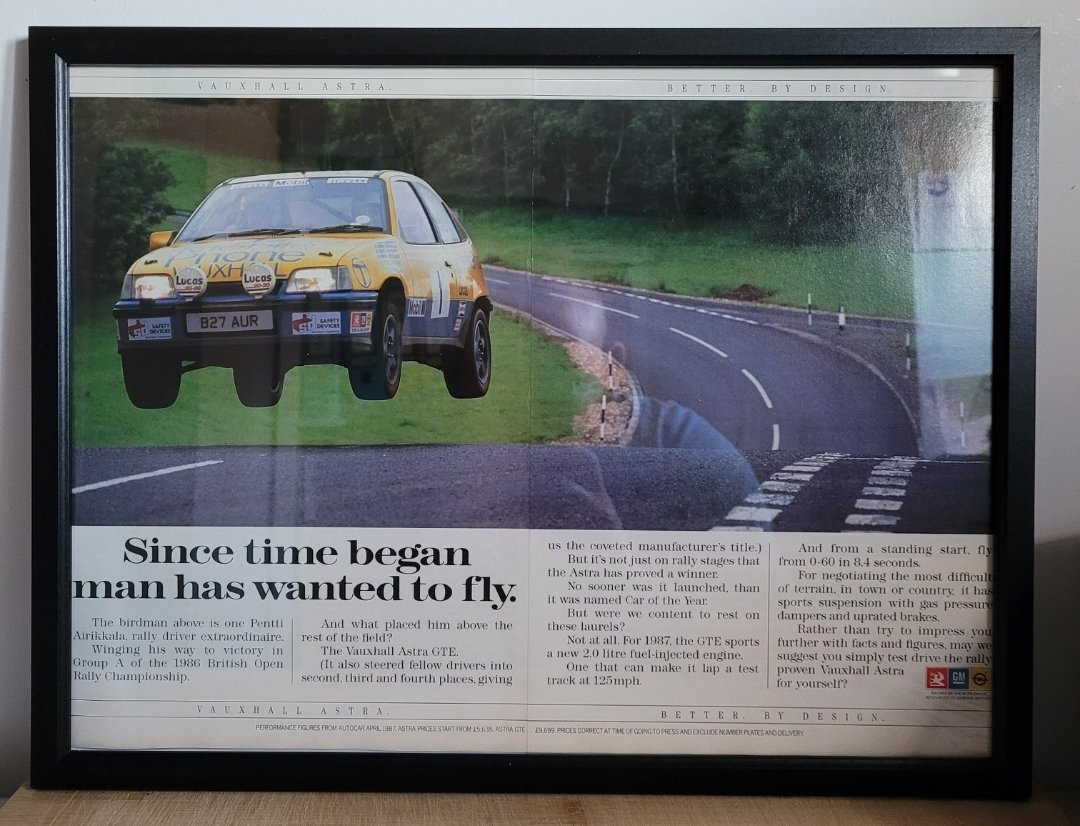 Picture of 1961 Original 1987 Vauxhall Astra GTE Framed Advert For Sale