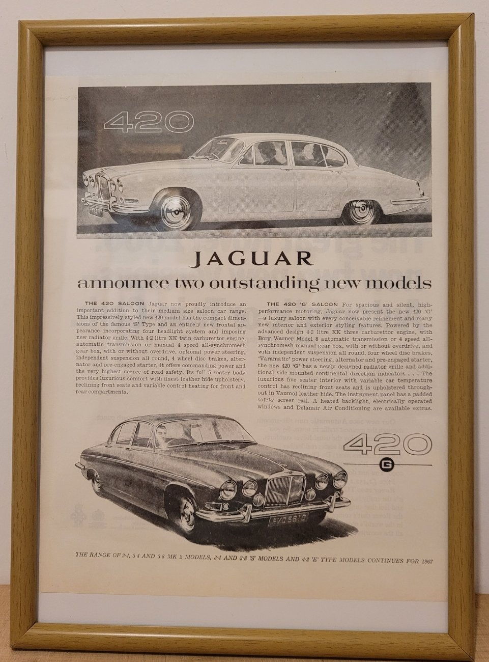 Original 1966 Jaguar 420 Framed Advert