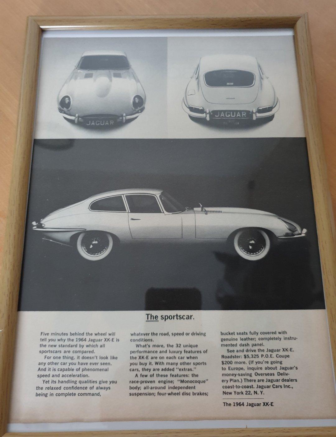 Original 1963 Jaguar E-Type Framed Advert