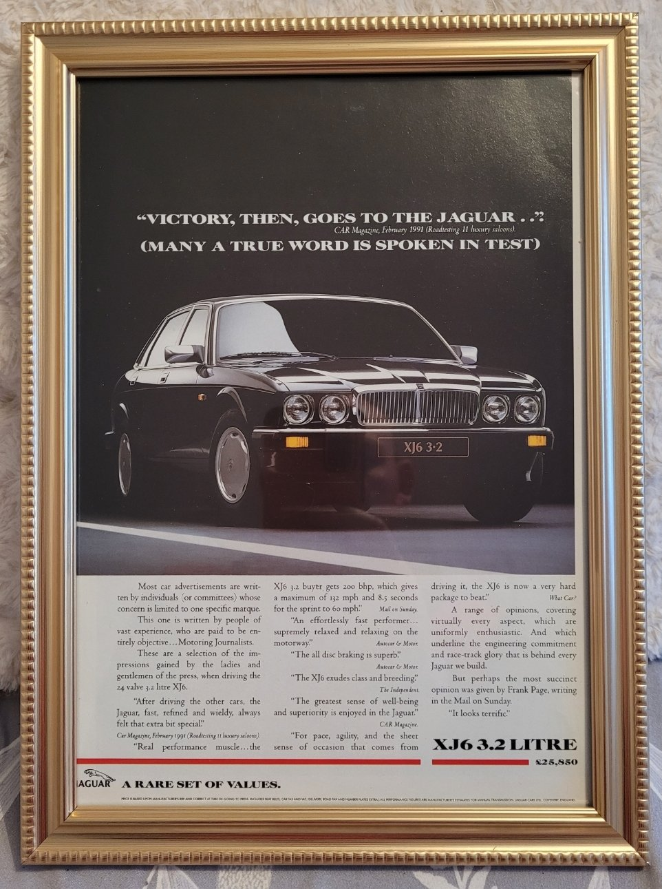 Original 1991 Jaguar XJ6 Framed Advert
