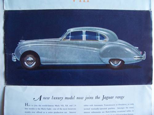1958 Jaguar Mark VIII Sales Brochure For Sale (picture 1 of 6)