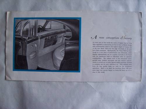 1958 Jaguar Mark VIII Sales Brochure For Sale (picture 4 of 6)