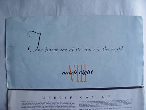 1958 Jaguar Mark VIII Sales Brochure For Sale (picture 6 of 6)