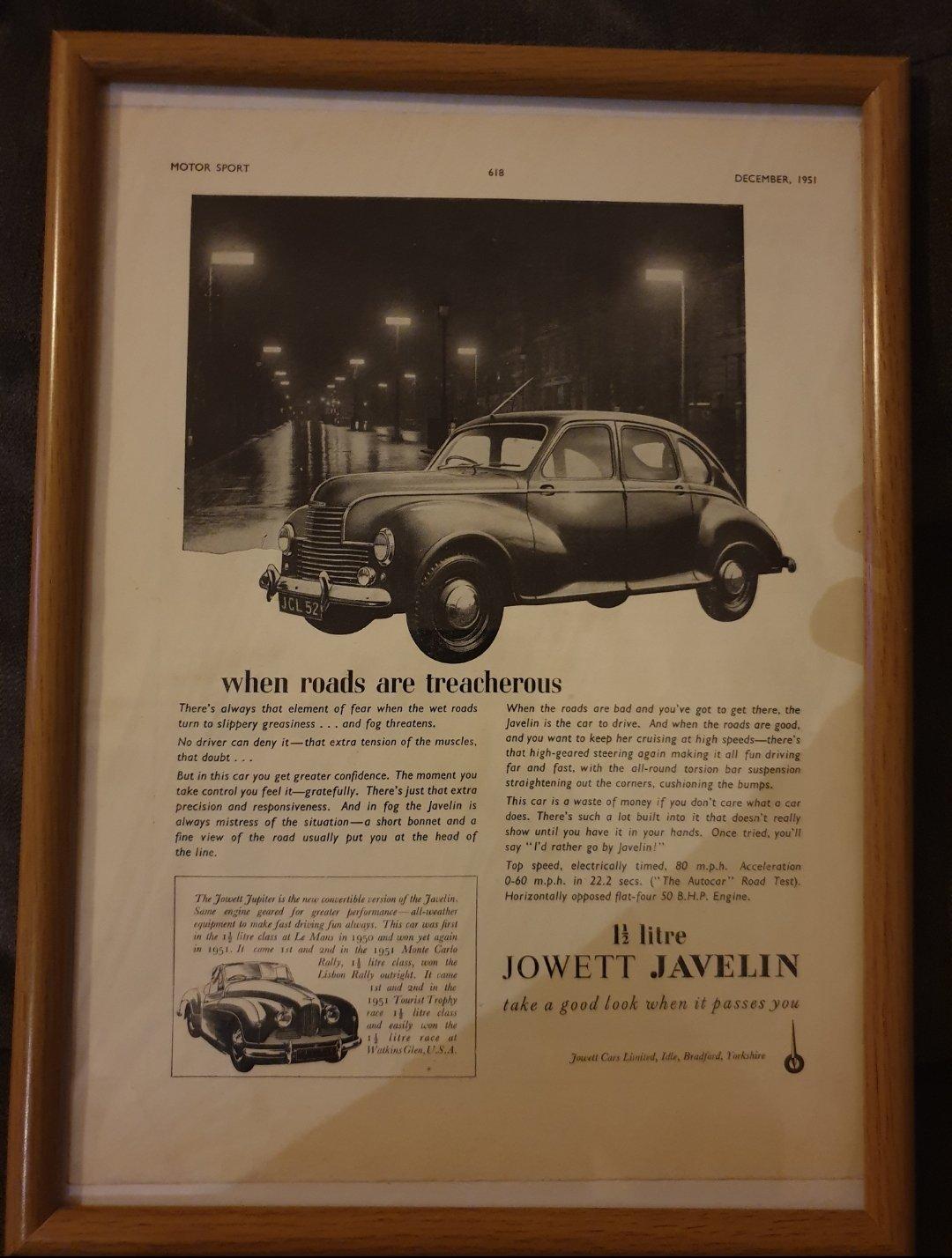 1951 Jowett Javelin Advert Original  For Sale (picture 1 of 2)