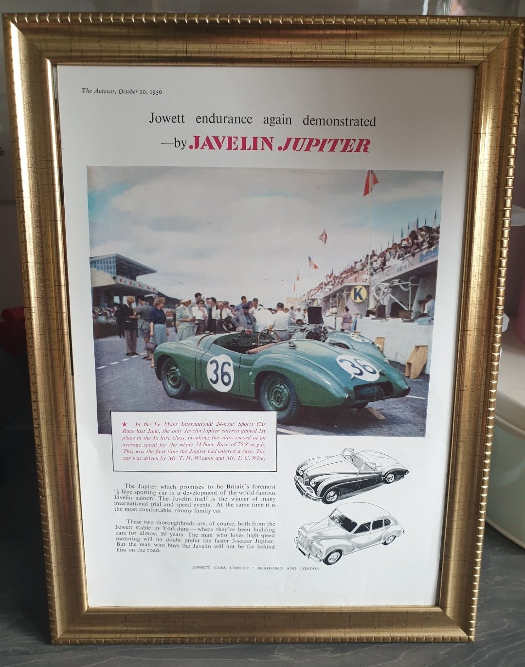 1950 Original Jowett Jupiter Framed Advert For Sale (picture 1 of 2)
