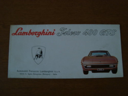 Lamborghini Islero 400 GTS fold out brochure For Sale (picture 1 of 1)