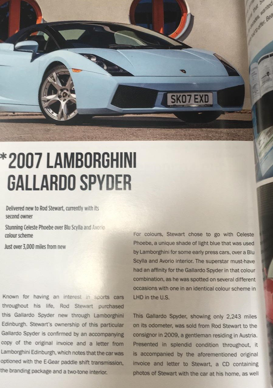 2007 ROD STEWART'S NEW GALLARDO SPYDER WITH 3200 MLS FOR SALE For Sale (picture 4 of 6)