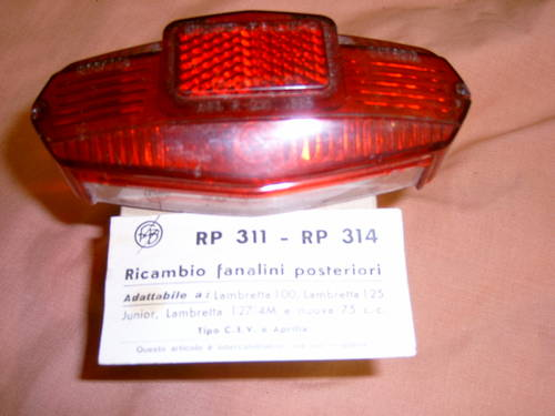1950 Original Lambretta Scooter Tail lamp lens For Sale (picture 1 of 3)