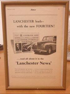 1951 Original Lanchester 14 Framed Advert