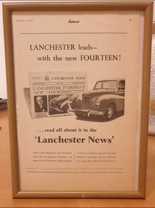 Lanchester 14 Framed Advert Original