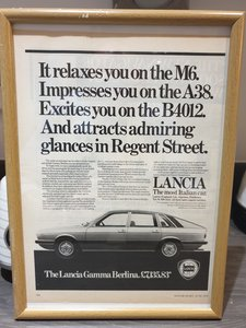 1979 Lancia Gamma Berlina Advert Original