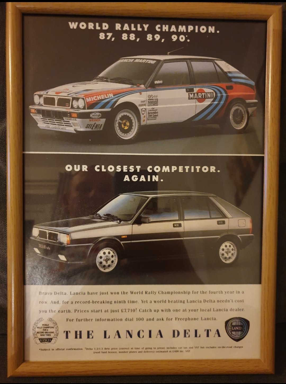 1990 Lancia Delta Turbo Advert Original  For Sale (picture 1 of 2)