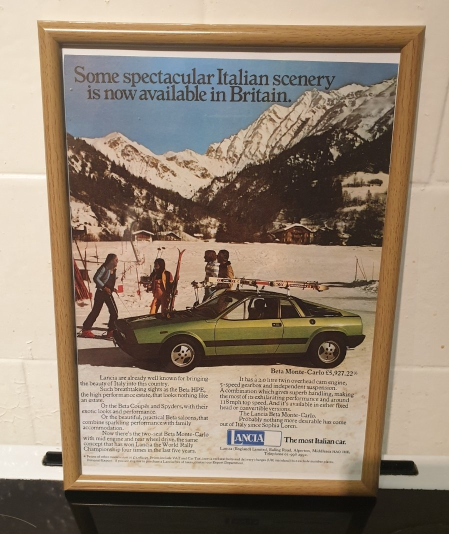 1977 Original Lancia Montecarlo Framed Advert For Sale (picture 1 of 2)