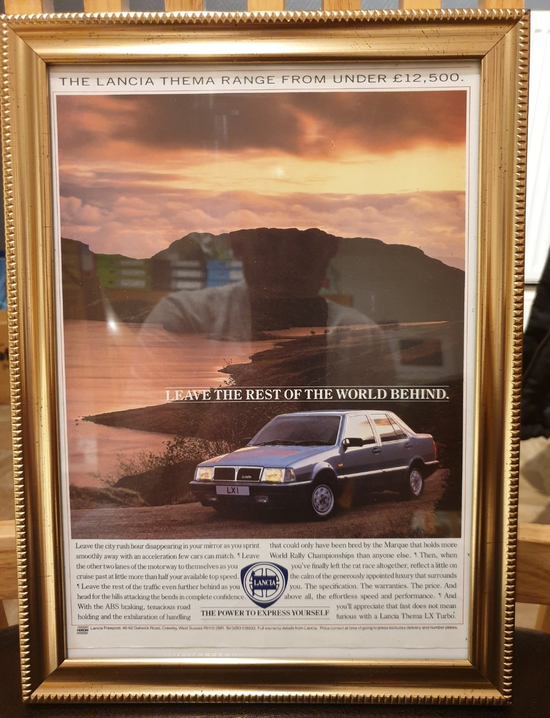 1988 Lancia Thema Framed Advert Original  For Sale (picture 1 of 2)
