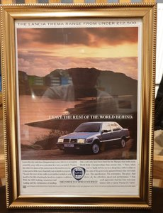 1988 Lancia Thema Framed Advert Original
