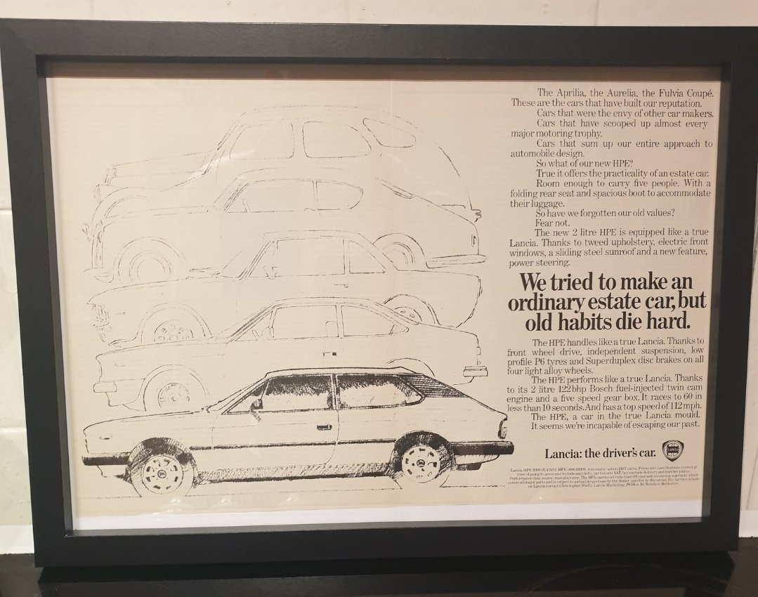 1982 Original Lancia HPE Framed Advert For Sale (picture 1 of 2)