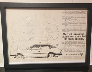 Original Lancia HPE Framed Advert