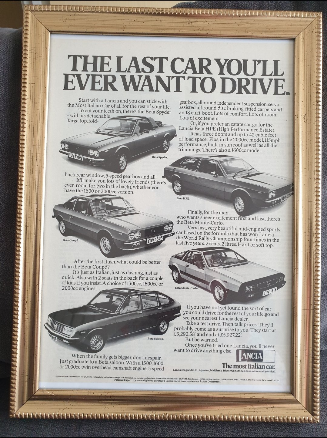 1978 Lancia Framed Advert Original  For Sale (picture 1 of 2)