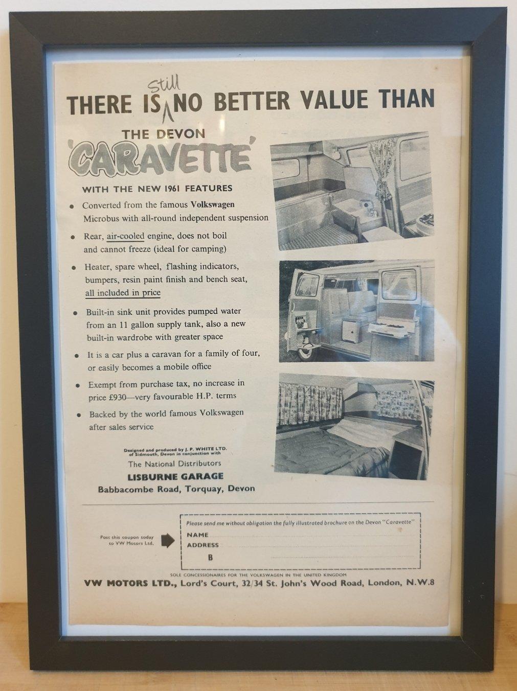 Original 1960 VW Camper Framed Advert
