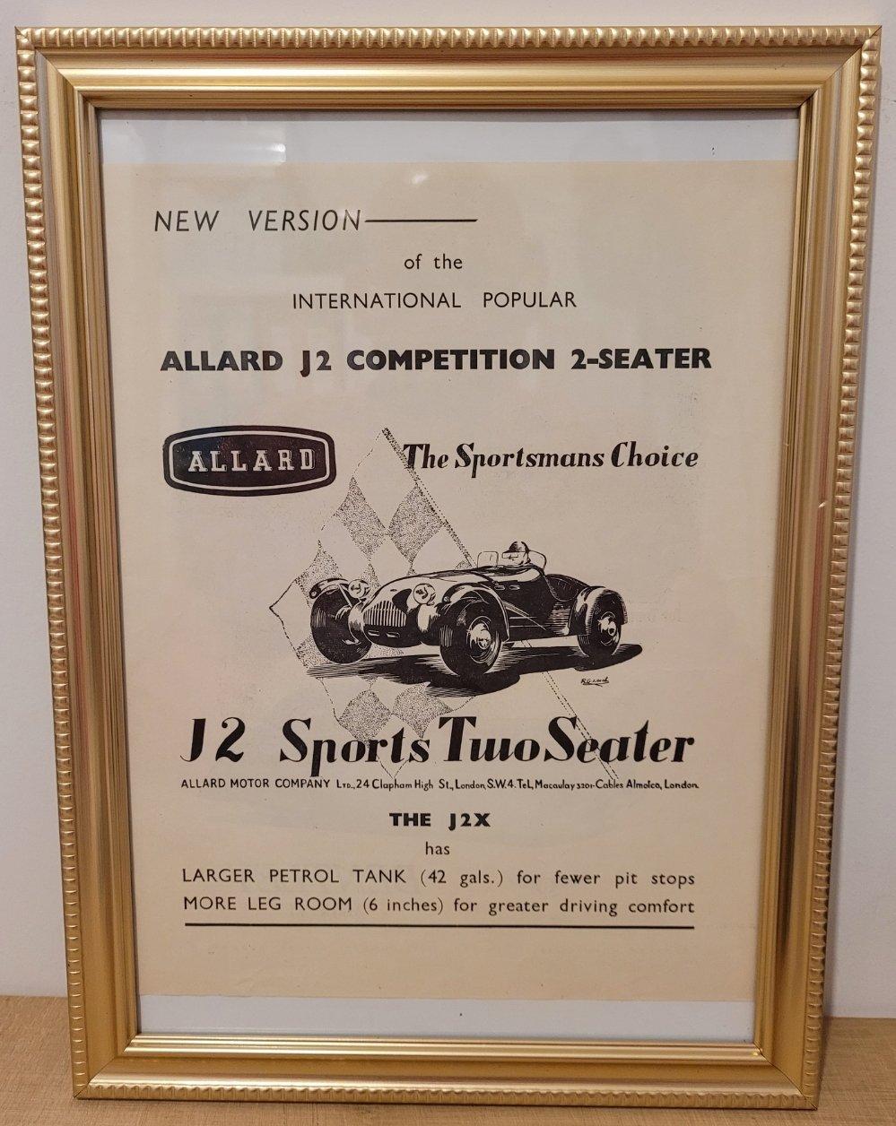 Original 1951 Allard J2 Framed Advert