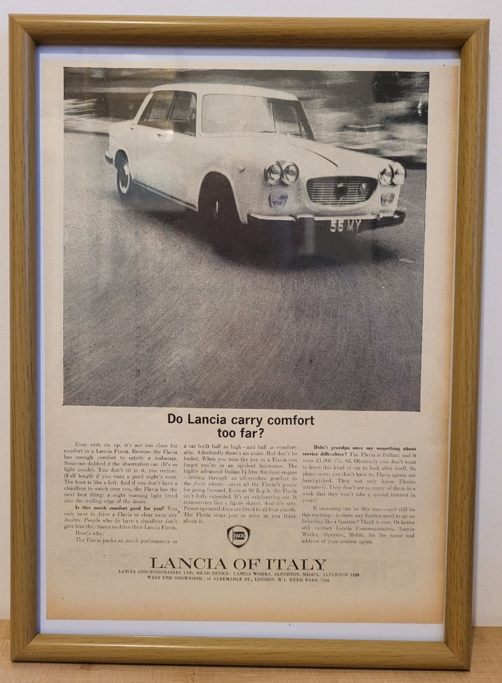 Original 1962 Lancia Flavia Framed Advert