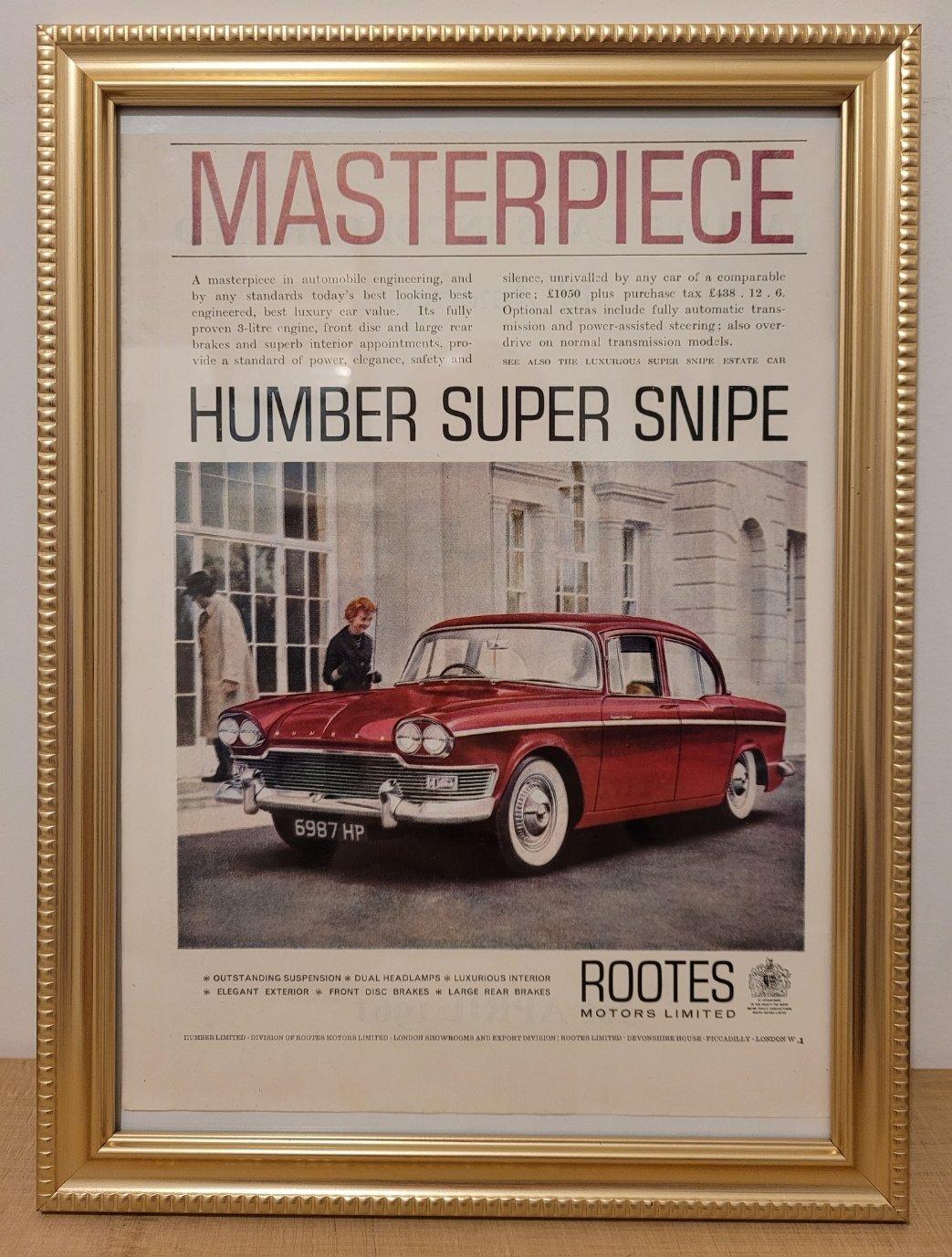 Original 1961 Humber Super Snipe Framed Advert