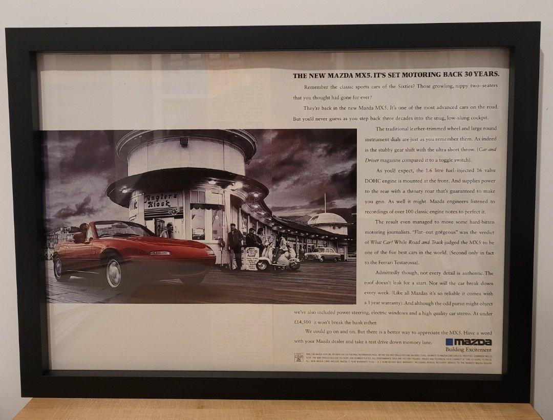 Original 1990 Mazda MX5 Framed Advert